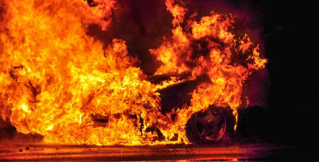 Car in ball of flames