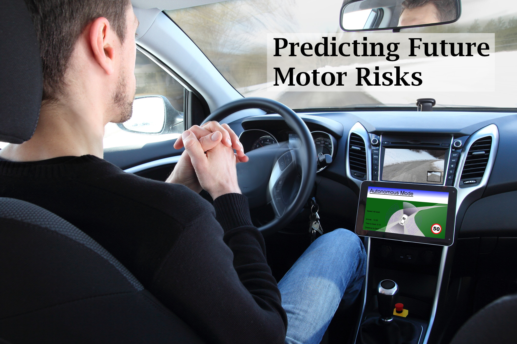 Man driving autonomous vehicle